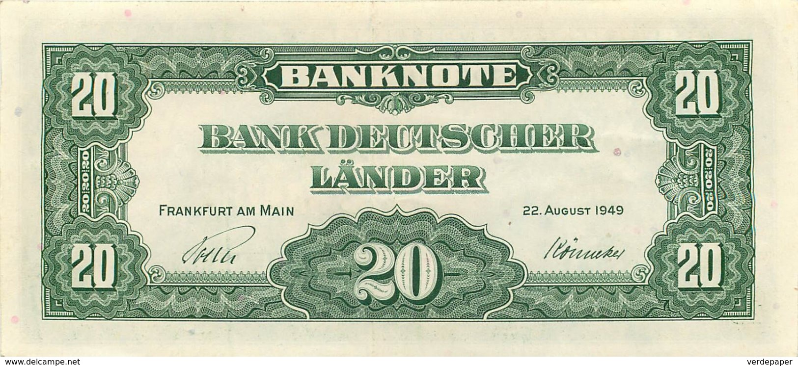 BANK DEUTSCHER LÄNDER , 20 Deutsche Mark , Zwanzig , Serie 1949 , Frankfurt Am Main. Near Mint - [ 7] 1949-… : FRG - Fed. Rep. Of Germany