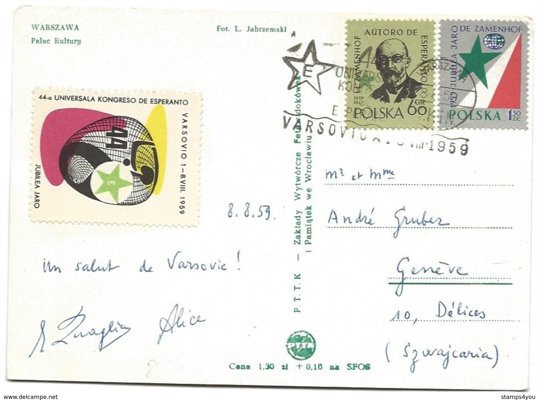"226 - 74 - Carte De Pologne Avec Timbres, Vignette Et Oblit Spéciale ""Esperanton Varsovie 1959"" - Esperanto"