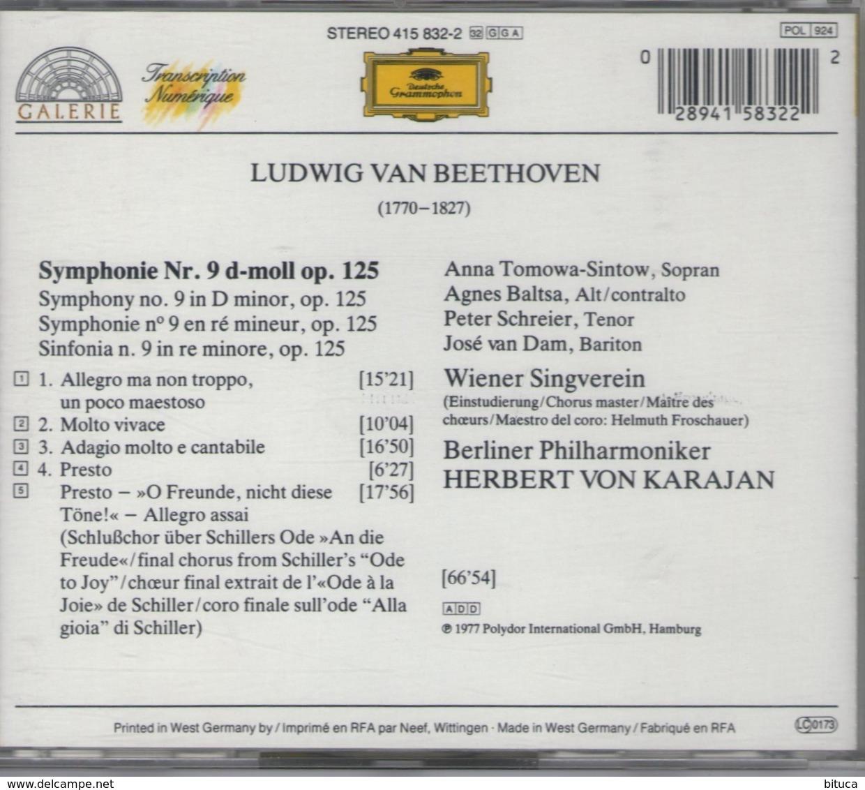CD LUDWIG VAN BEETHOVEN SYMPHONIE N°9 AVEC L'ODE A LA JOIE BON ETAT - Classical
