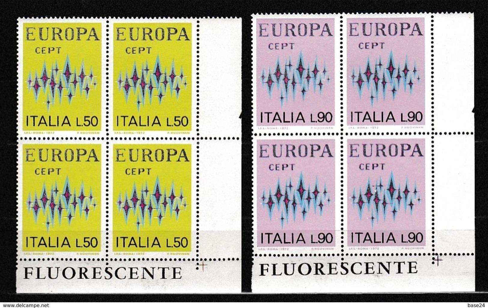 1972 Italia Italy Repubblica EUROPA CEPT EUROPE 4 Serie Di 2 Valori In Quartina MNH** Bl.4 - 1972