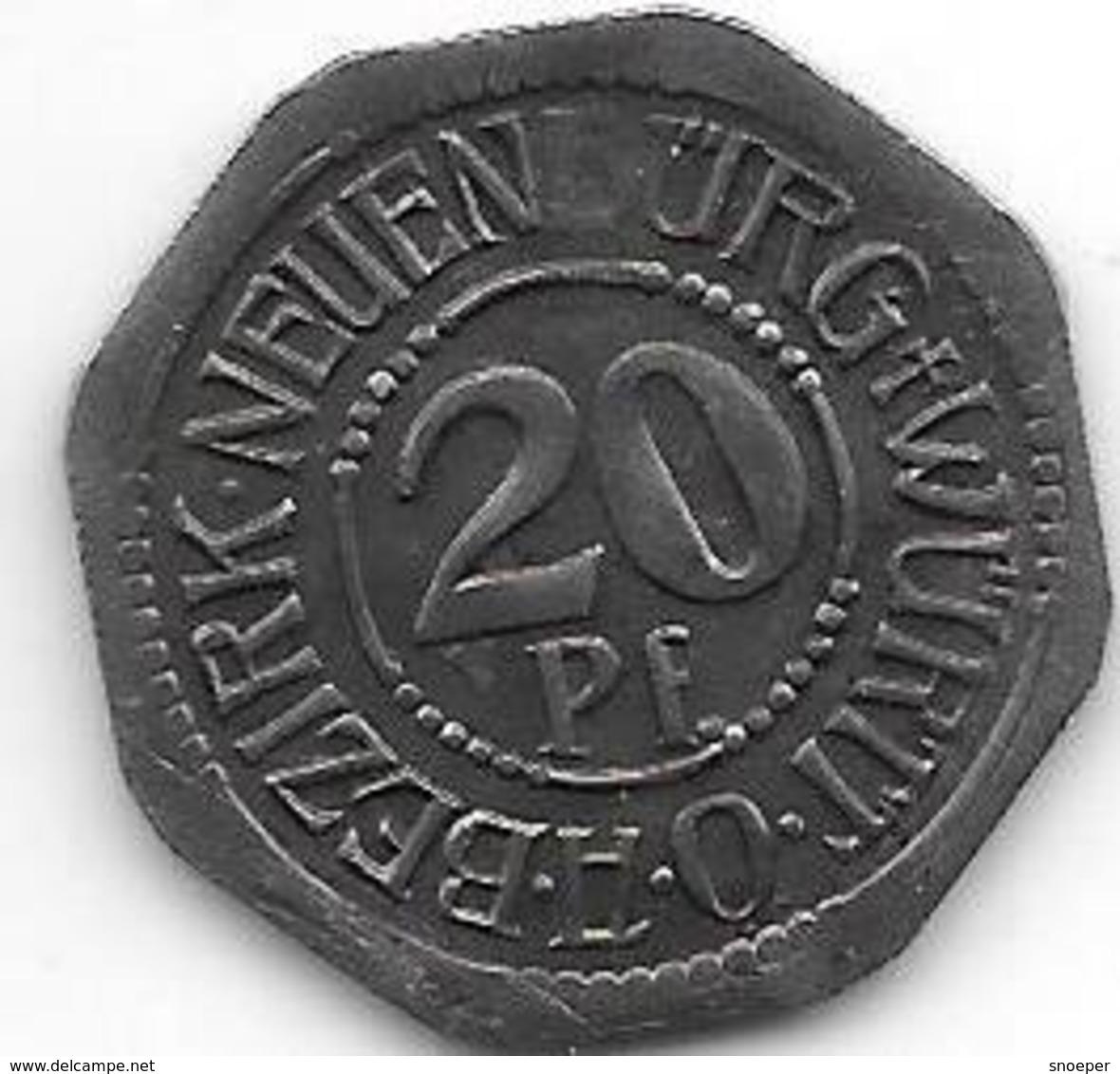 *notgeld   Neuenburg 20 Pfennig 1918   Fe  363.1 - [ 2] 1871-1918 : Empire Allemand