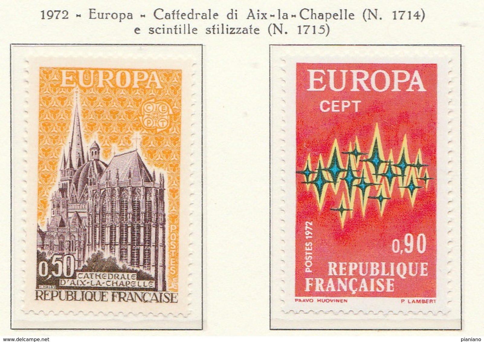 PIA - FRANCIA  - 1972 : Europa - (YV  1714-15) - 1972