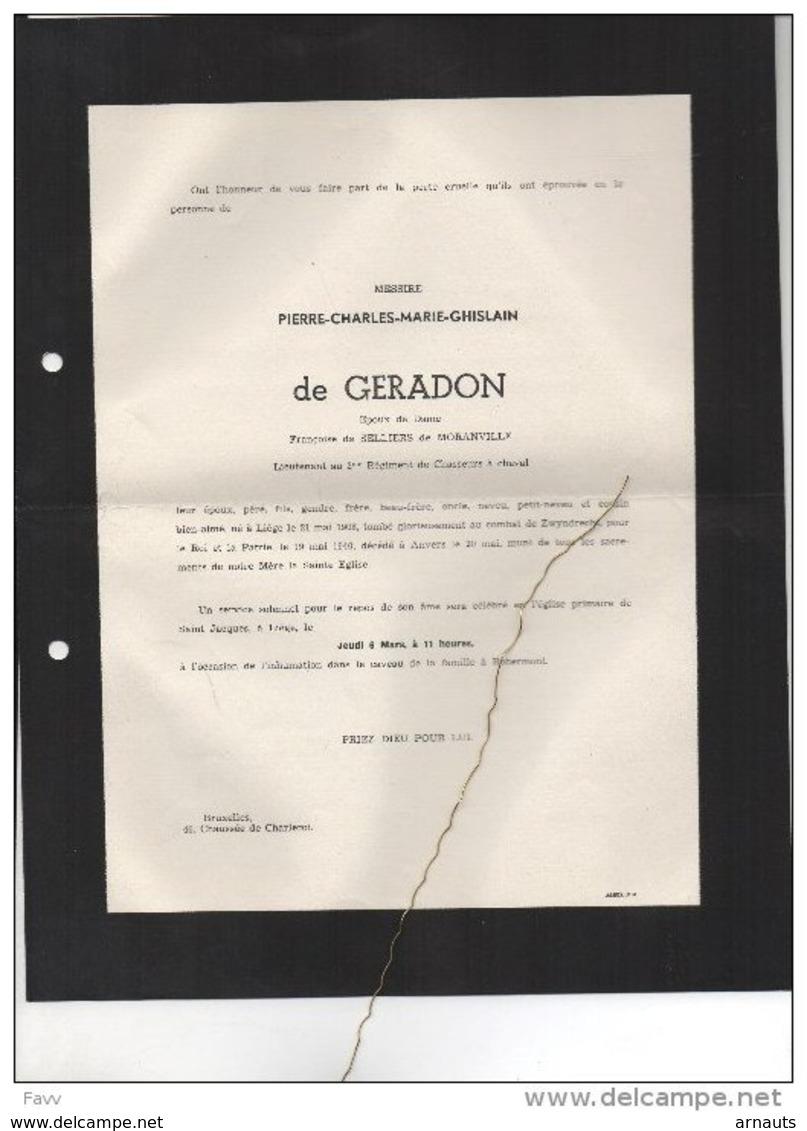 De Gerradon De Selliers De Moranville Lieutenant 2reg Chasseurs Cheval°Liège 1908 Tombé Combat Zwijndrecht 9/5/1940 WOII - Obituary Notices
