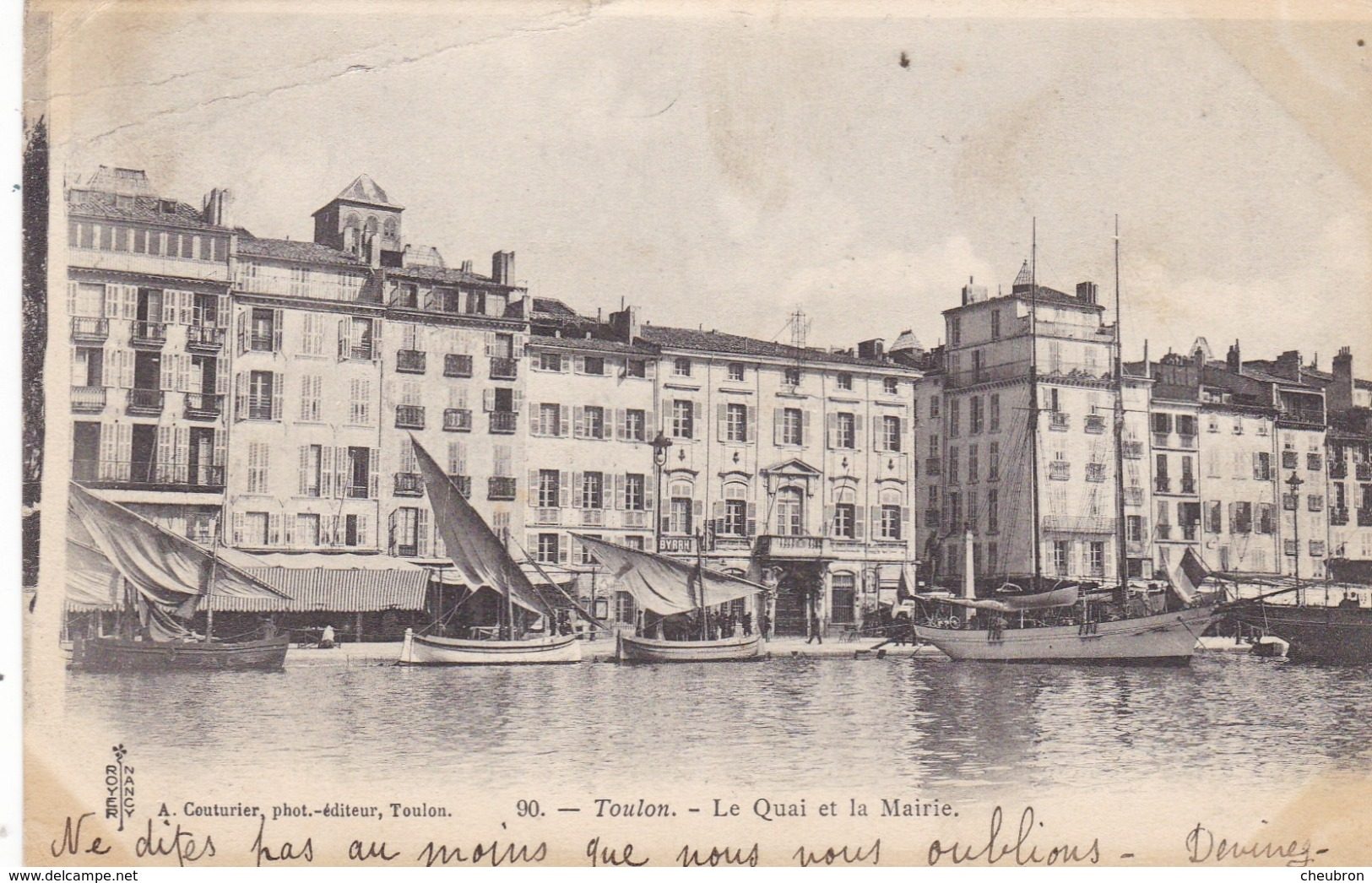 83.  TOULON . CPA . LE QUAI DE LA MAIRIE. ANNEE 190 + TEXTE - Toulon