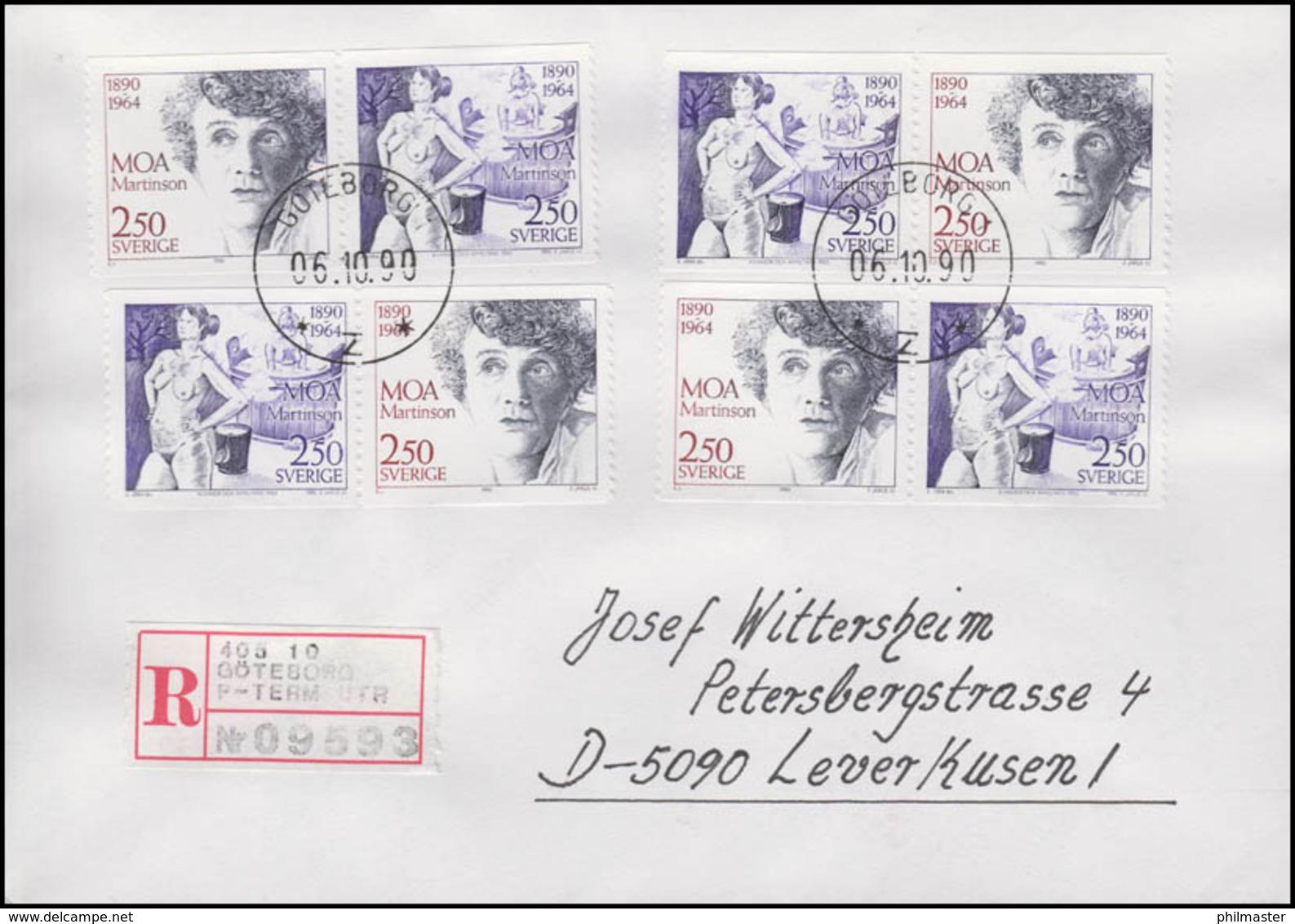 Schweden: Moa Martinson Schriftstellerin 1990 Auf R-FDC Göteborg 1.10.90 - Schriftsteller