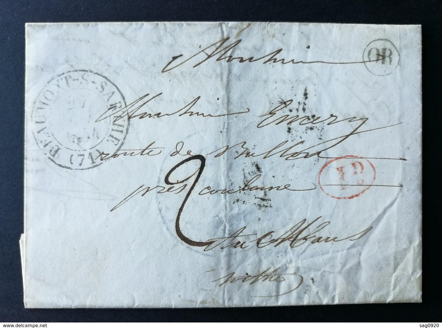 Lettre (Mairie De St Jean D'Asse) Avec Cachet Type 13 De Beaumont Sur Sarthe - 1801-1848: Vorläufer XIX