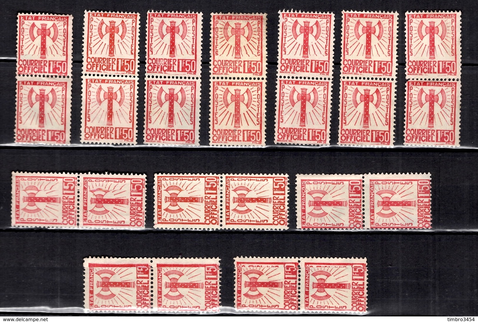 France Service Francisque YT N° 8, Douze Paires Neufs (*). B/TB. A Saisir! - Neufs