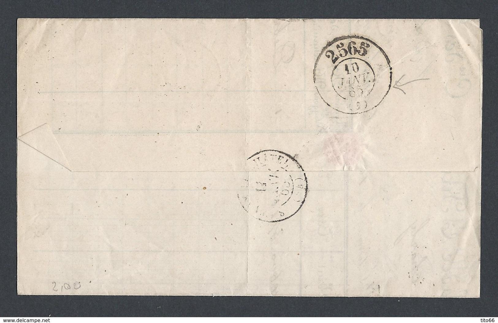 Napoléon Y/T N°22 20c Bleu Sur LAC De St Etienne Du 10/1/1865 GC 3581 Vers Renaison Verso Bureau De Passe 2565 - 1849-1876: Période Classique