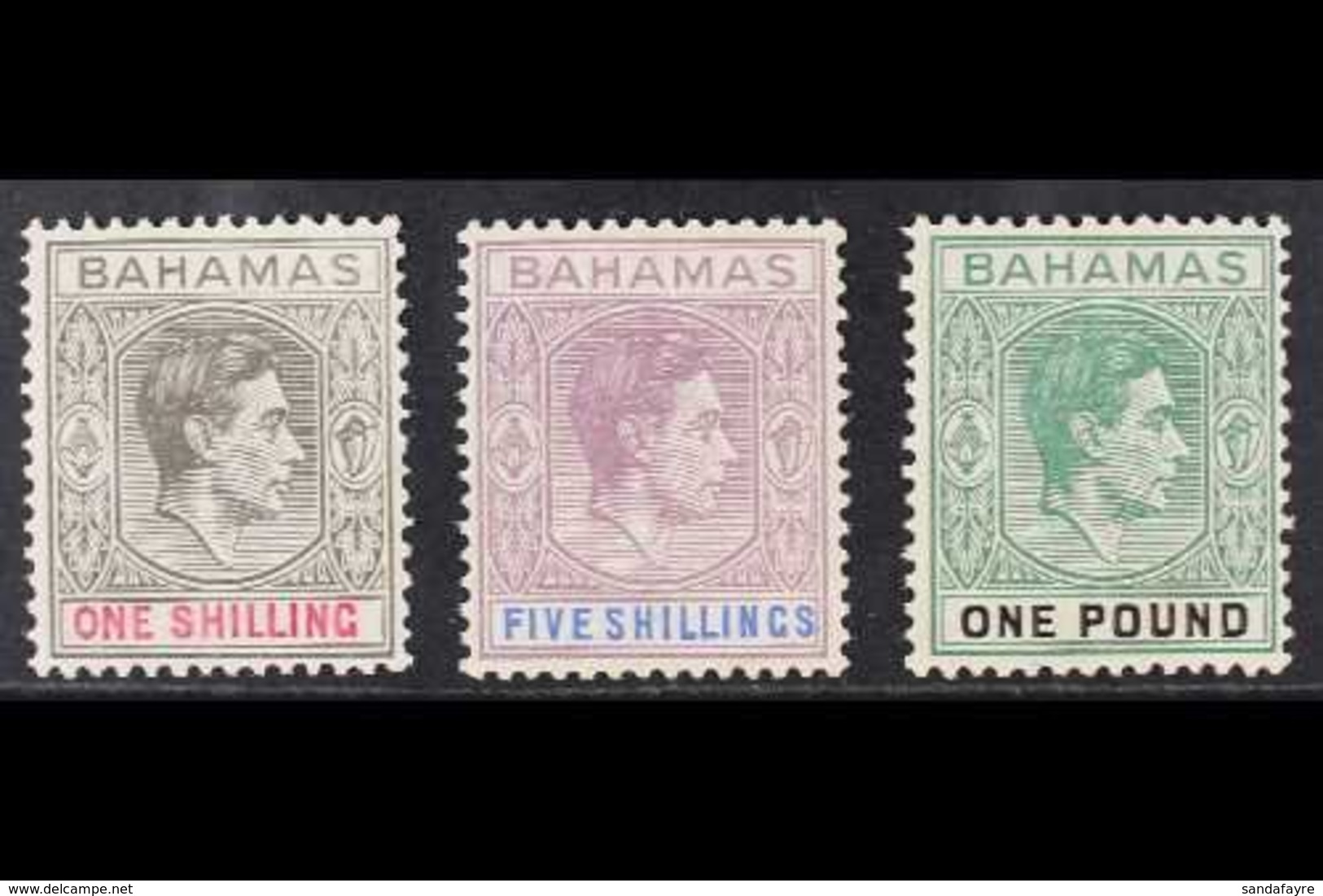 1938 1s Grey-black & Carmine, 5s Lilac & Blue And £1 Deep Grey-green & Black Original Printings On Thick Chalky Paper, S - Bahamas (...-1973)