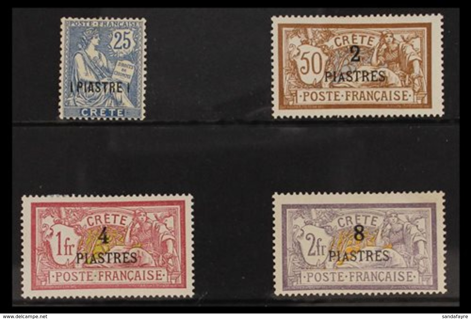 CRETE 1903 Surcharged Set To 8pi On 2f, Fine Mint (4 Stamps) For More Images, Please Visit Http://www.sandafayre.com/ite - France (former Colonies & Protectorates)