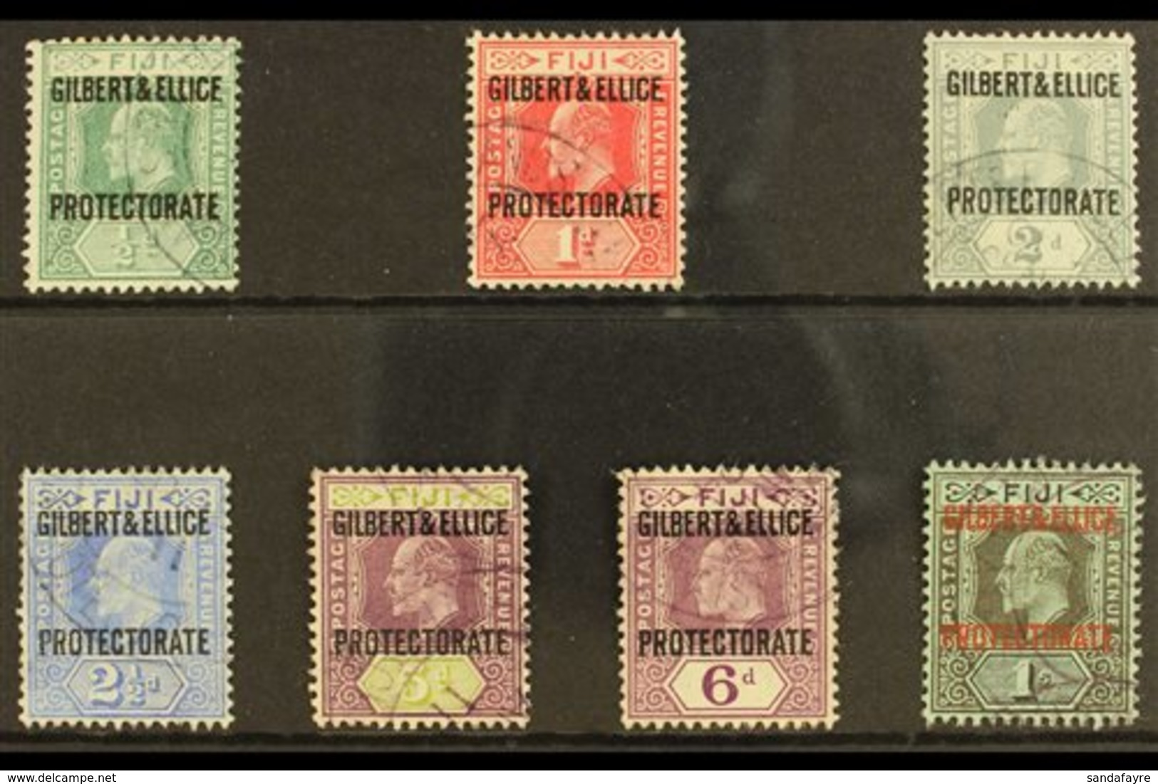1911 Protectorate Overprint Set, SG 1/7, Very Fine Used (7 Stamps) For More Images, Please Visit Http://www.sandafayre.c - Gilbert- En Ellice-eilanden (...-1979)