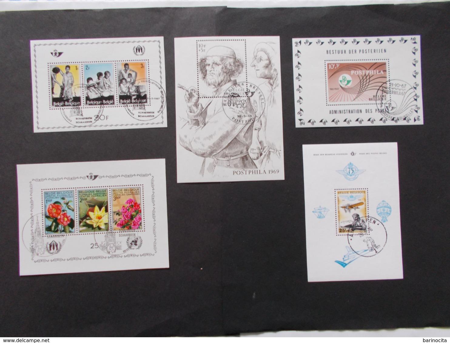 BELGIQUE - LOT DE 5 Blocs Feuillets Oblitérés 1er Jours  Des N° 43/44/45/47/48 ( Voir Photo )  8 - Blocks & Sheetlets 1962-....