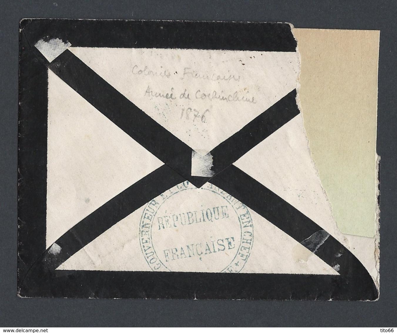 Enveloppe Sans Texte Cérès Y/T 23 Colonies Générales TAD Corp. Armée Cochinchine Du 6/12/76 Vers Paris Coin H G Déchiré - 1849-1876: Période Classique