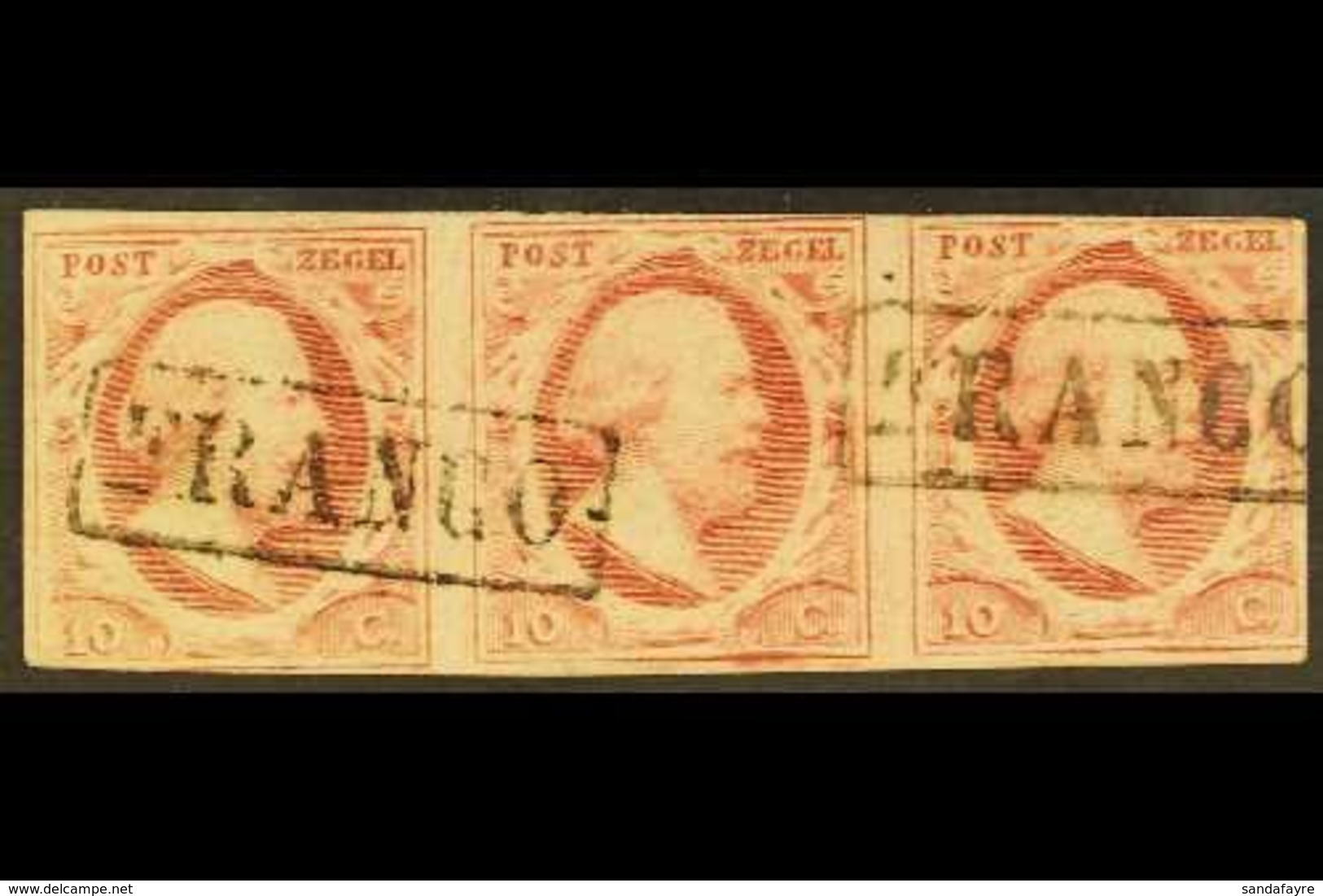 """1852 10c Carmine, Imperf Horizontal STRIP OF THREE, Mi 2, SG 2, NVPH 2, Fine Used, Cancelled By Boxed """"Franco"""" Postmarks - Sin Clasificación"""