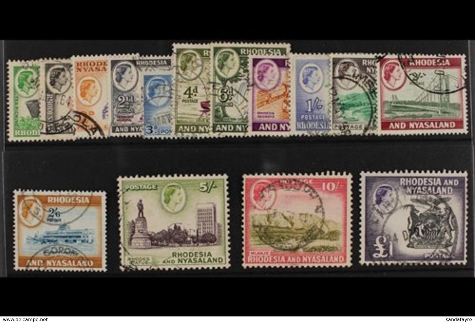 1959-62 Definitives Complete Set, SG 18/31, Fine Used. (15 Stamps) For More Images, Please Visit Http://www.sandafayre.c - Rhodésie & Nyasaland (1954-1963)