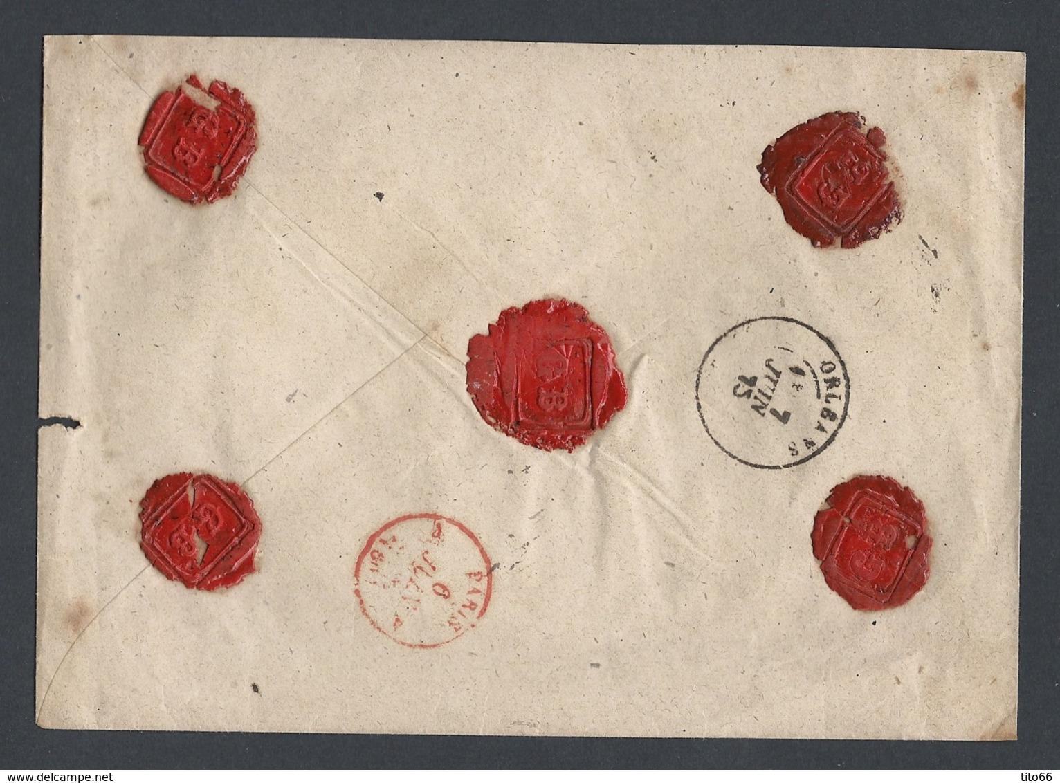 Enveloppe Recommandée Avec Cérès Y/T 57 Et 58 De Mennecy Du 6/6/1875 Vers Orléans Verso Cachet Cire TAD Paris Rouge - Marcophilie (Lettres)