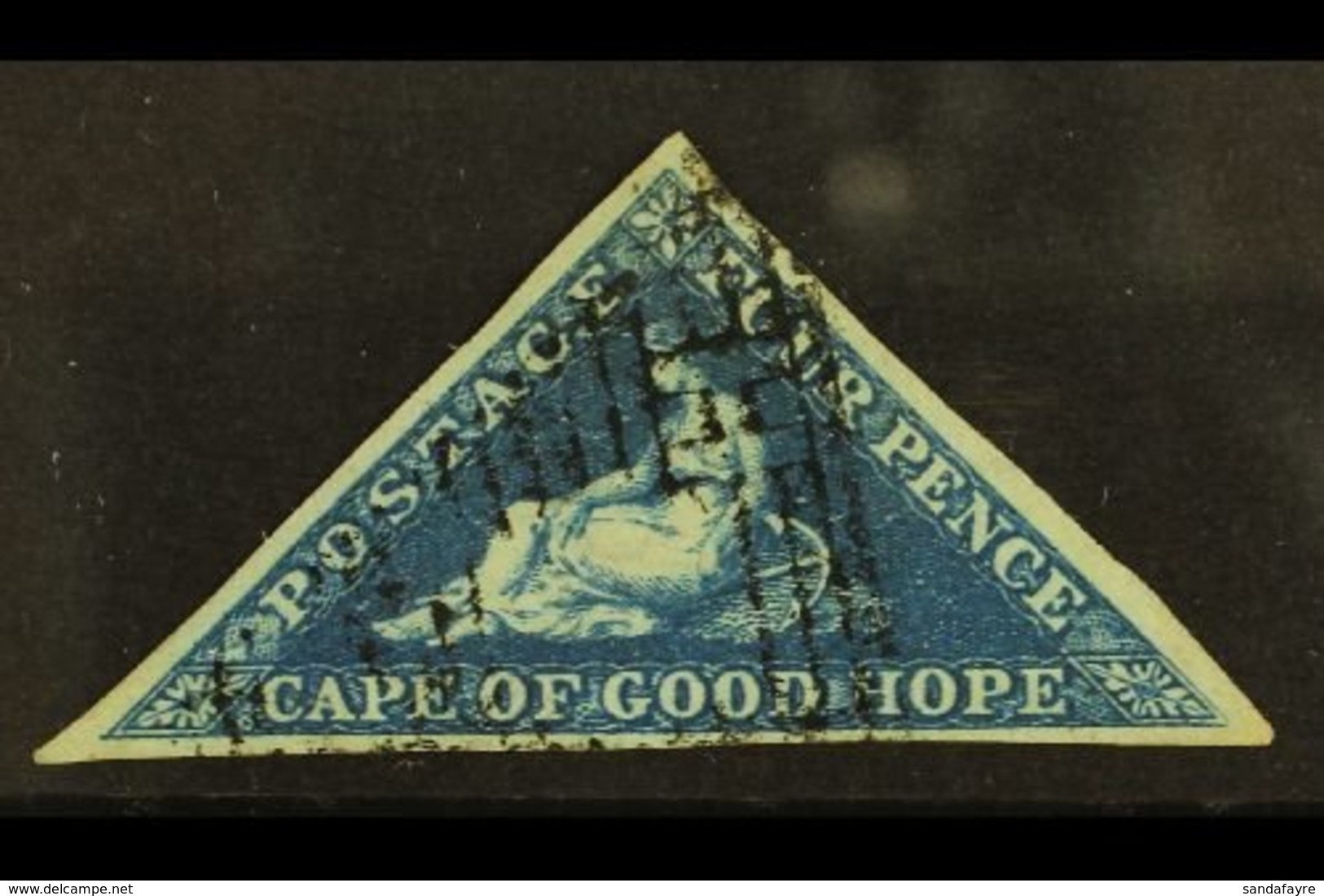 CAPE OF GOOD HOPE 1853 4d Deep Blue, SG 2, Very Fine Used With 3 Good Margins. Richter Photo Certificate. For More Image - South Africa (...-1961)