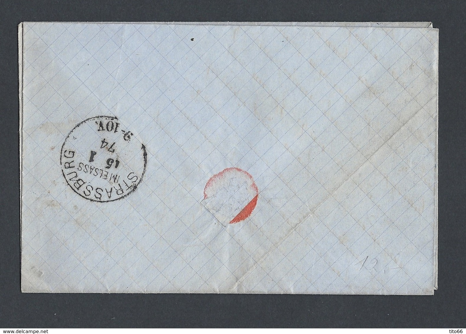 Cérès Y/T 59 Sur LAC En PP Oblitération Ambulant Paris A Avricourt Losange PAV 2° Du 15/1/1874 Vers Strasbourg - Postmark Collection (Covers)