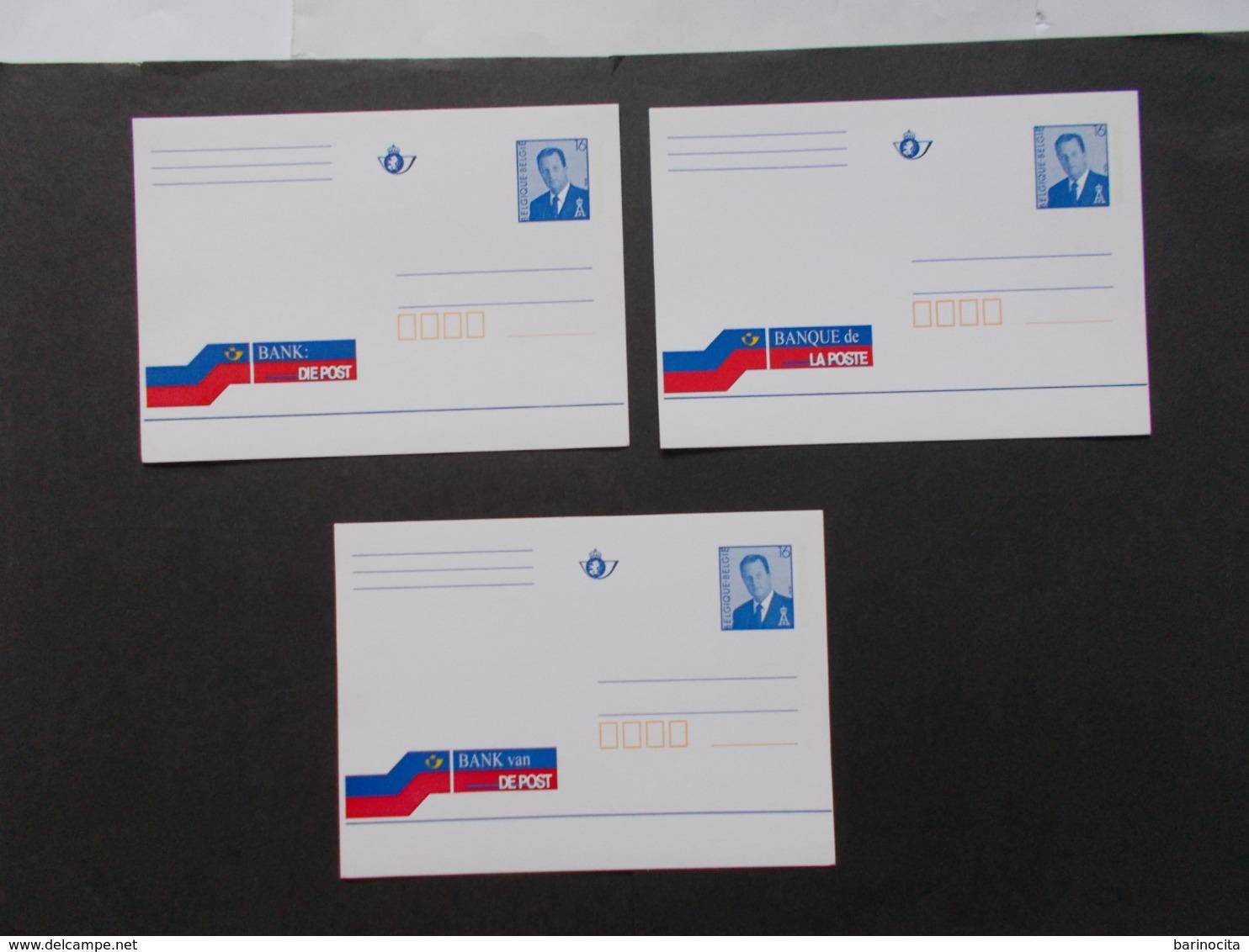 BELGIQUE -  Lot De 3 Banque De La Postes Dans Les 3 Langues    ( Voir Photo )  22 - Stamped Stationery