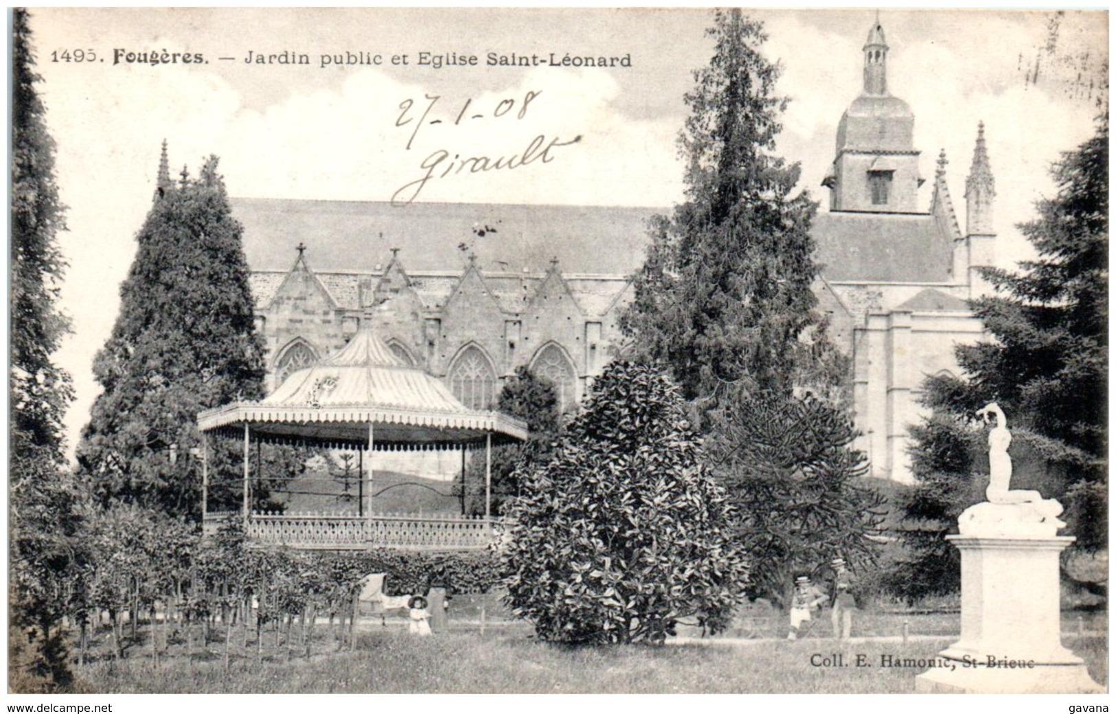 35 FOUGERES - Jardin Public Et église Saint-Léonard - Fougeres
