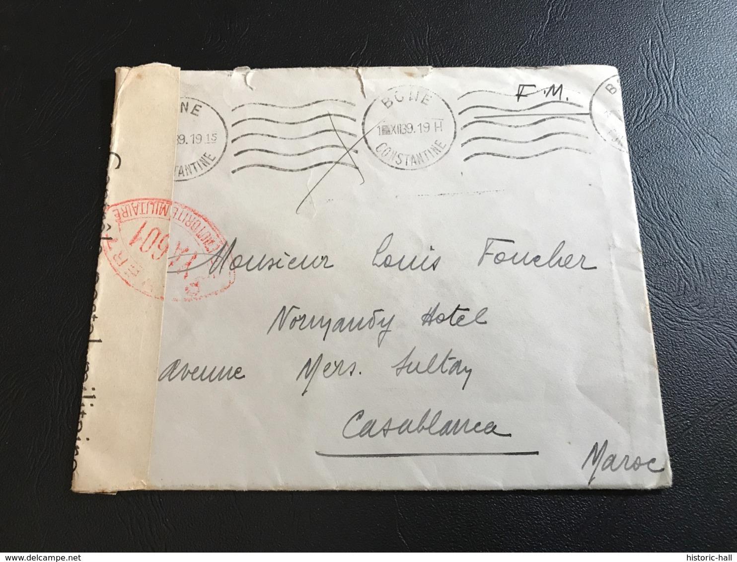 Enveloppe 12/1939 Tampon BONE (Algerie) Ouvert Par Autorité Militaire - Marcophilie (Lettres)