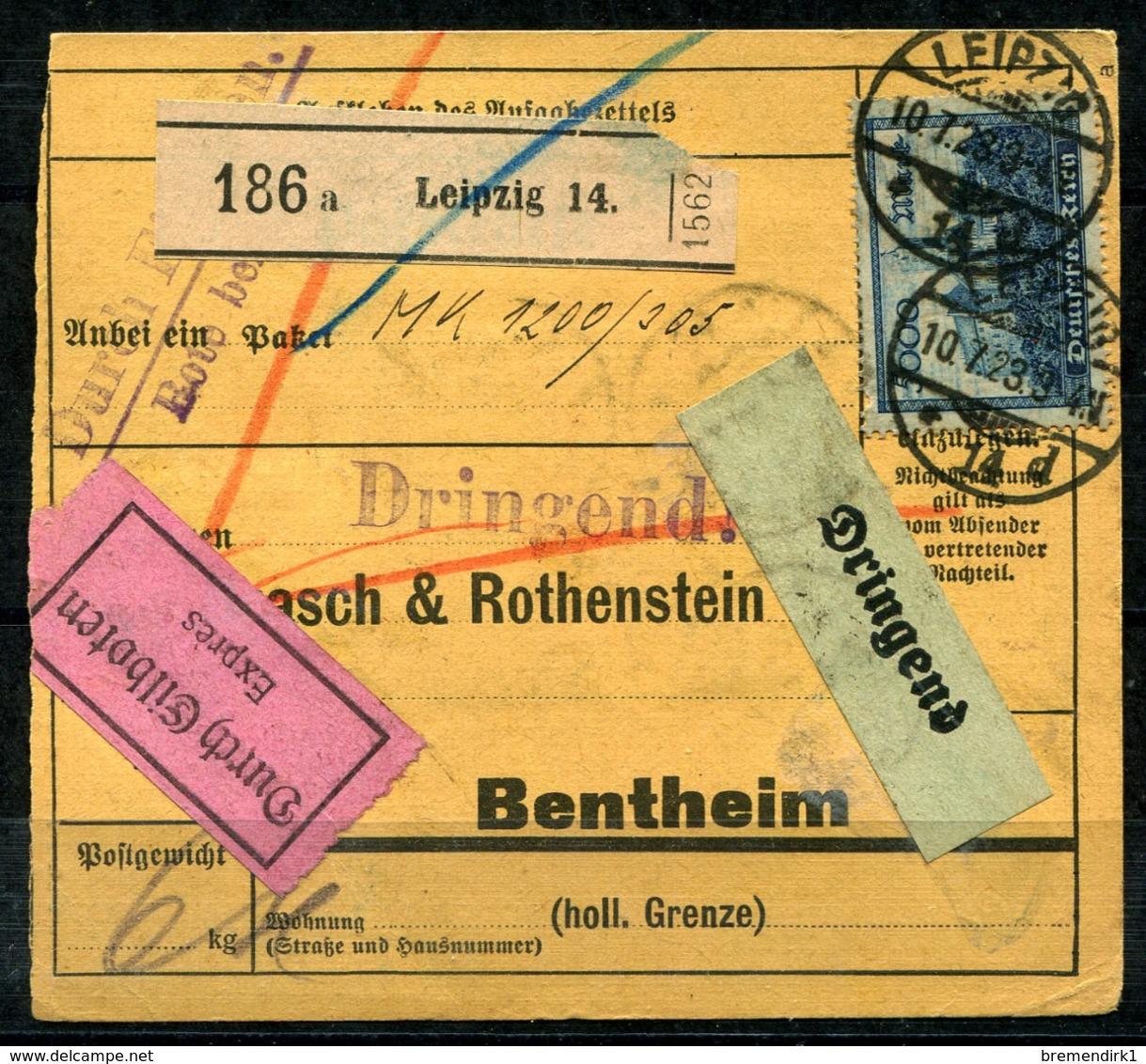 40968) DEUTSCHES REICH Infla-Paketkarte Mit # 261 A, 253 Ax + 268 B GEPRÜFT - Germany