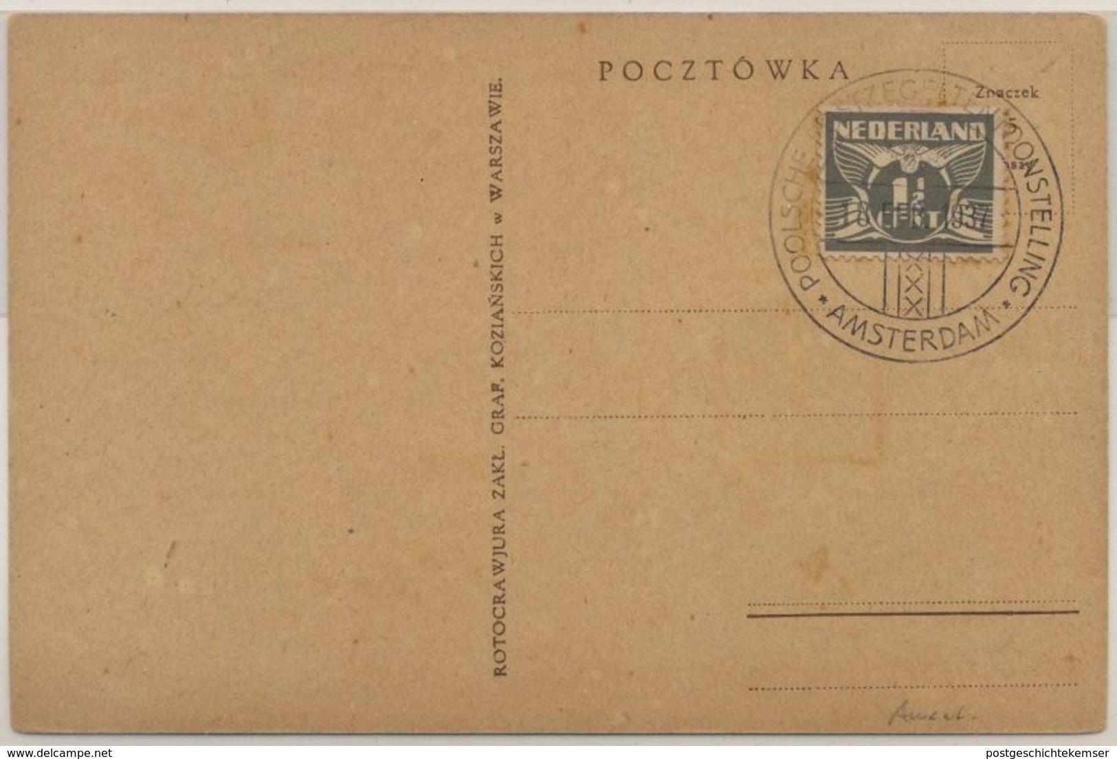 Niederlande/Polen - Pilsudskiemo Sonderkarte M. Niederl. SST Amsterdam 1937 - Pays-Bas