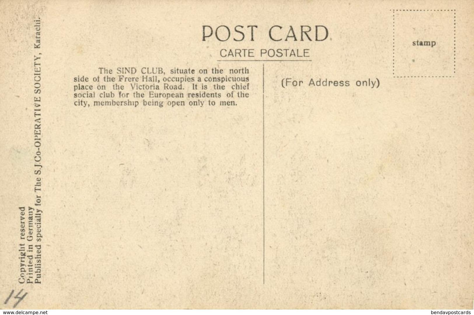 Pakistan, KARACHI, Sind Club (1930s) Postcard - Pakistan