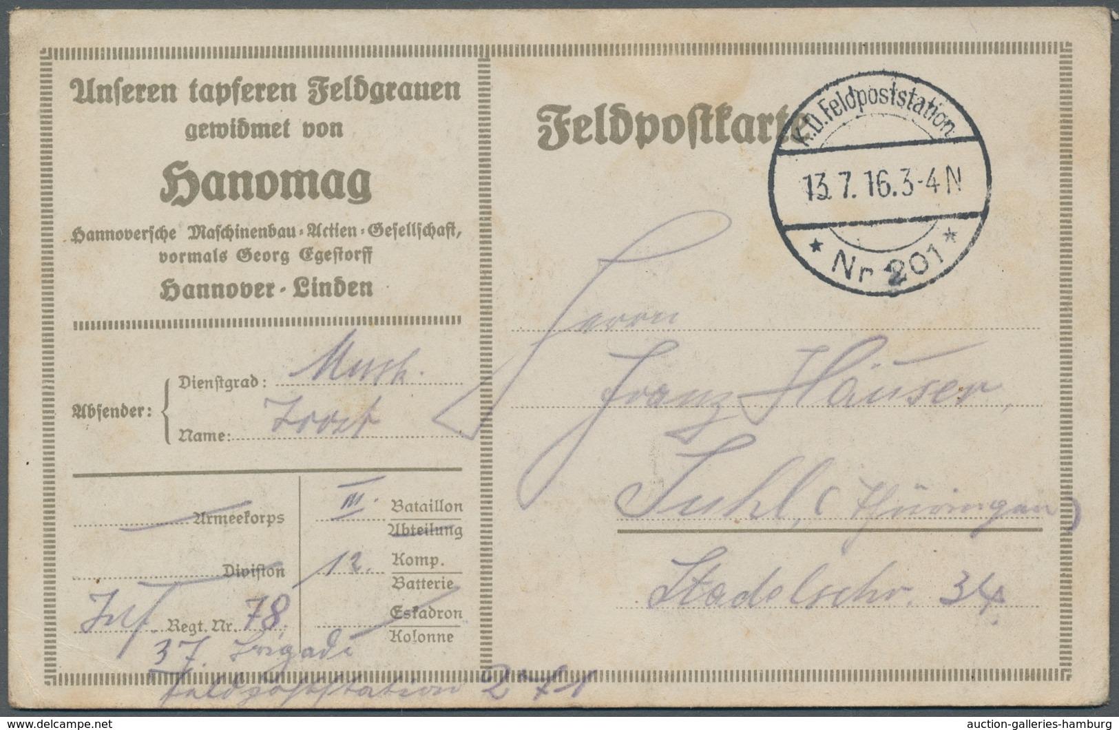 Deutsch-Ostafrika - Besonderheiten: 1916, Echtgelaufene Unfrankierte (da Portofrei) Ansichtskarte Mi - Colony: German East Africa