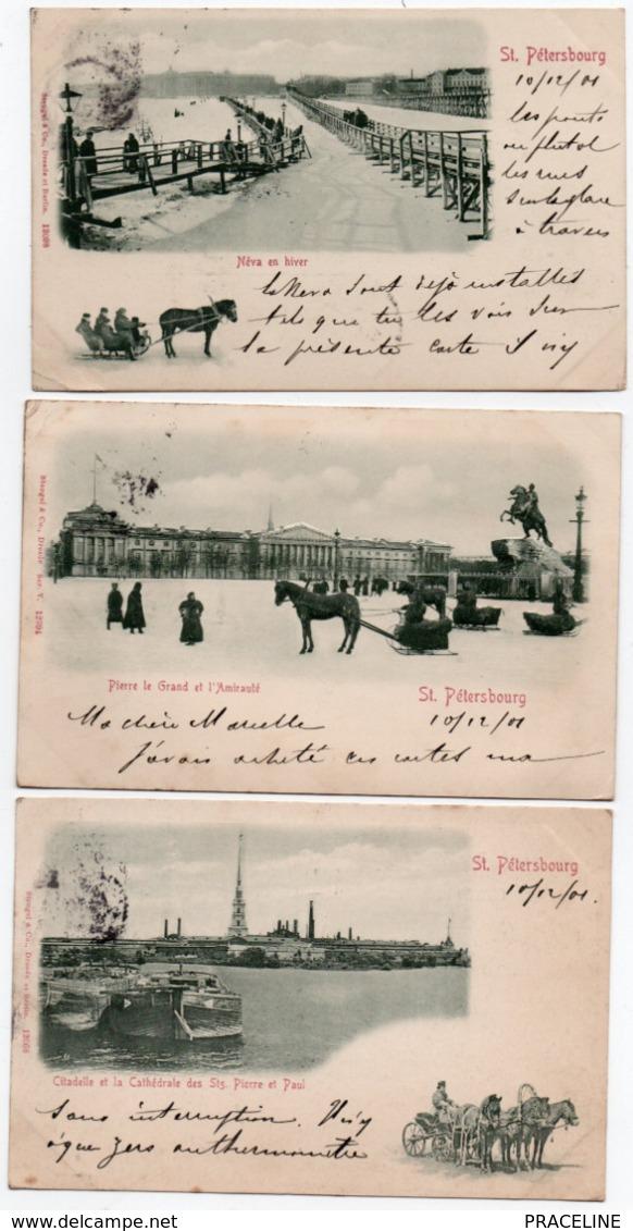ST PETERSBOURG-1901-LOT DE 10 CARTES - Russie
