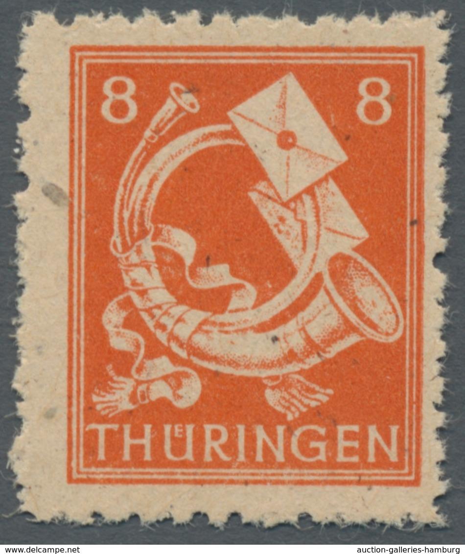 """Sowjetische Zone - Thüringen: 1945, """"8 Pfg. Rotorange Auf Papier Mit Steil Fallender Streifung Und S - Zona Sovietica"""