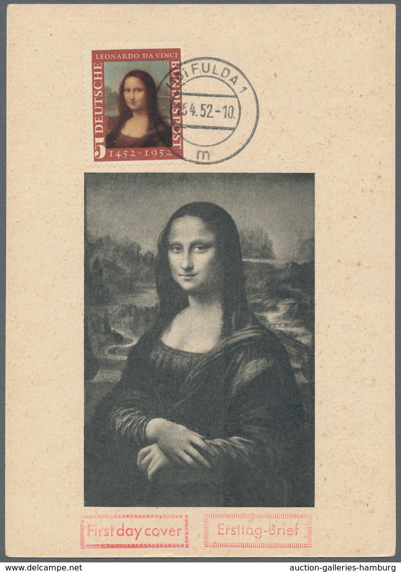 """Bundesrepublik Deutschland: 1952, """"Mona Lisa"""" Auf Ersttags-Maximumkarte. Sehr Schöne Bildwiedergabe, - Usati"""
