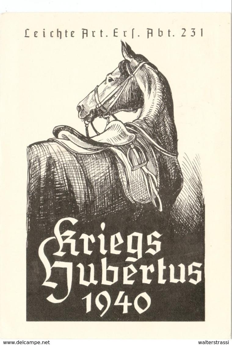 """III. Reich, Propagandakarte """" Kriegs Hubertus 1940 """" Leichte Art. Ers. Abt. 231, Nürnberg - Engerau ( Ostmark ) - Weltkrieg 1939-45"""