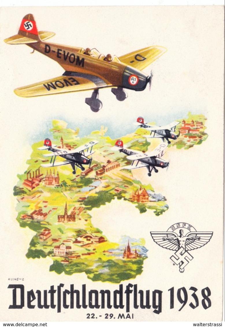 """III. Reich, Propagandakarte """" Deutschlandflug 1938 """" Stempel - Endziel Wien - Guerre 1939-45"""