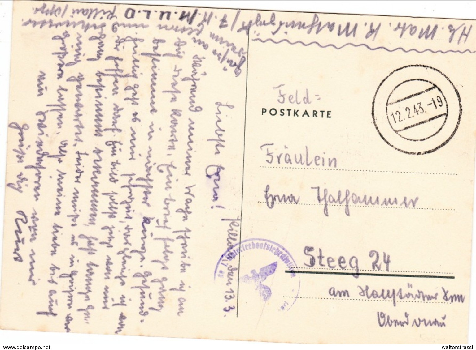 "III. Reich, Propagandakarte "" Flaggen "" Stempel - 1. Unterseeboots Division Nach Hallstatt ( Ostmark ) - Weltkrieg 1939-45"