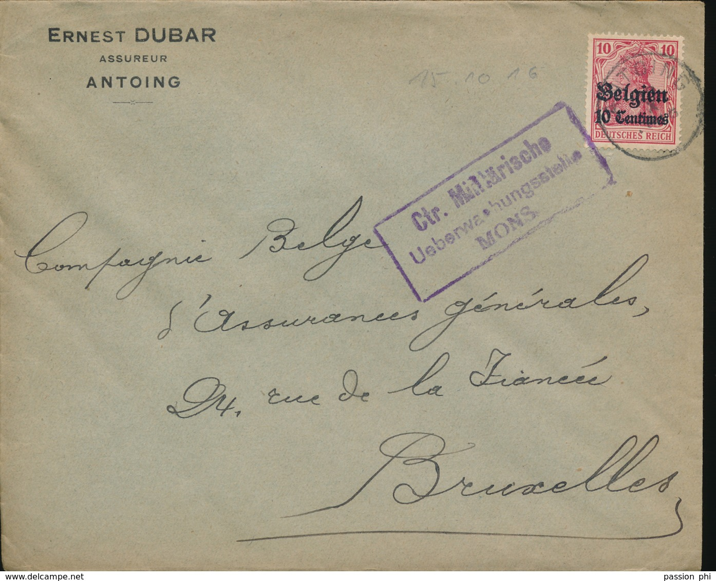 BELGIUM  WW1 COVER FROM ANTOING TO BRUSSELS - [OC1/25] General Gov.