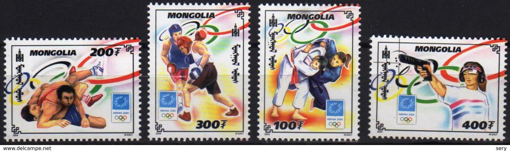 Mongolia 2004 Set 4 V MNH Olympic Games Wrestling Boxing Gun Shooting - Estate 2004: Atene