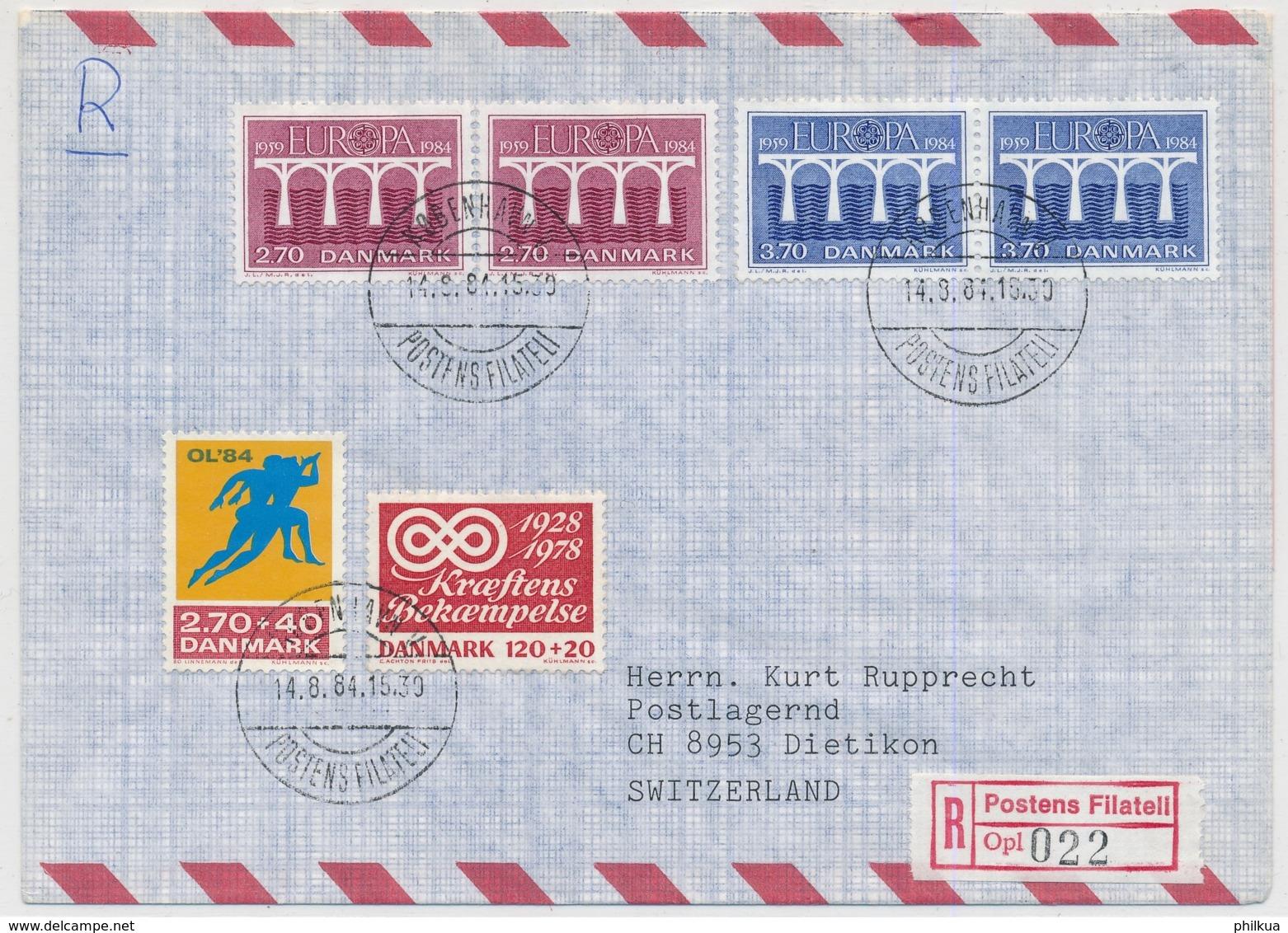 Dänemark - Europamarken 1984 Auf R-Brief Gelaufen Københaven Valby - DIETIKON Schweiz Mit Ankunfts-Stempel - Europa-CEPT