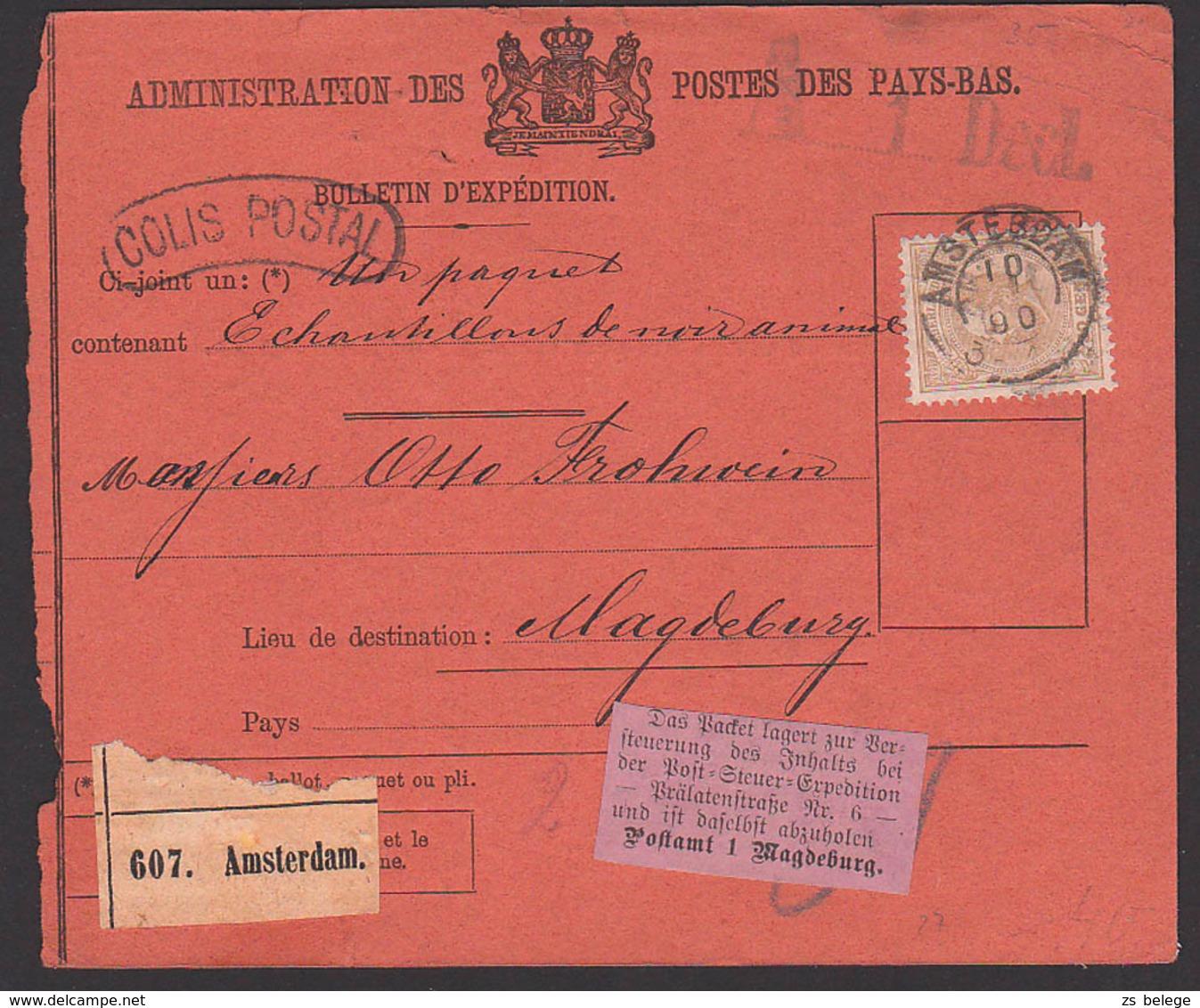Postage Des Pays-Bas, Paketkarte Aus AMSTERDAM, Nach Magdeburg, Emmerich, Aukleber Bzgl. Versteuerung, Colis Postal - Brieven En Documenten