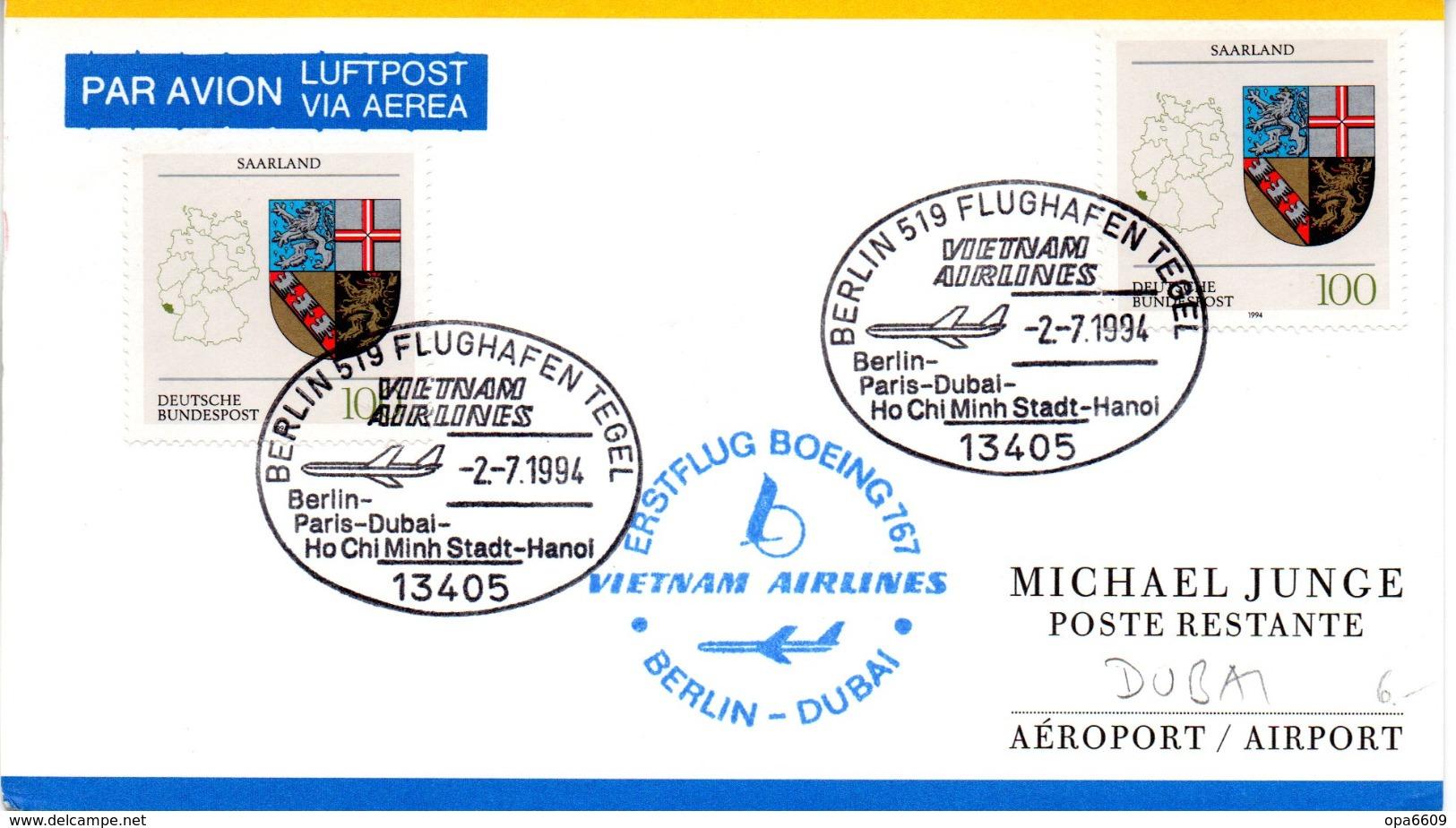 "(Bu-B4) Sonder-Karte Vietnam Airlines ""ERSTFLUG BOEING 767 BERLIN-DUBAI"" MeF BRD Mi 2x1712 SSt.2.7.1994 BERLIN 519 - Airplanes"