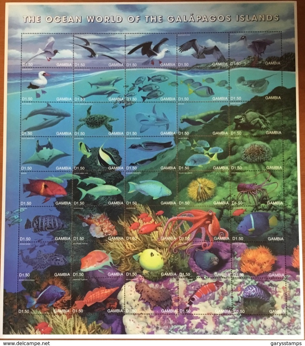 Gambia 1999 Galapagos Wildlife Birds Fish Reptiles Marine Life Extra Large Sheetlet MNH - Briefmarken