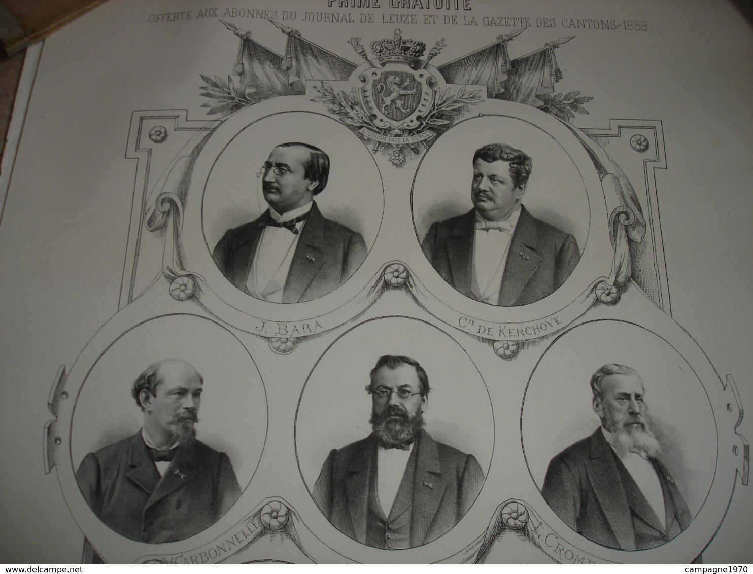 A VOIR !! GRANDE LITHO - DEPUTATION LIBERALE DU TOURNAISIS ET ARRONDISSEMENT DE ATH ( 1887 - PORTRAITS ) - Lithografieën