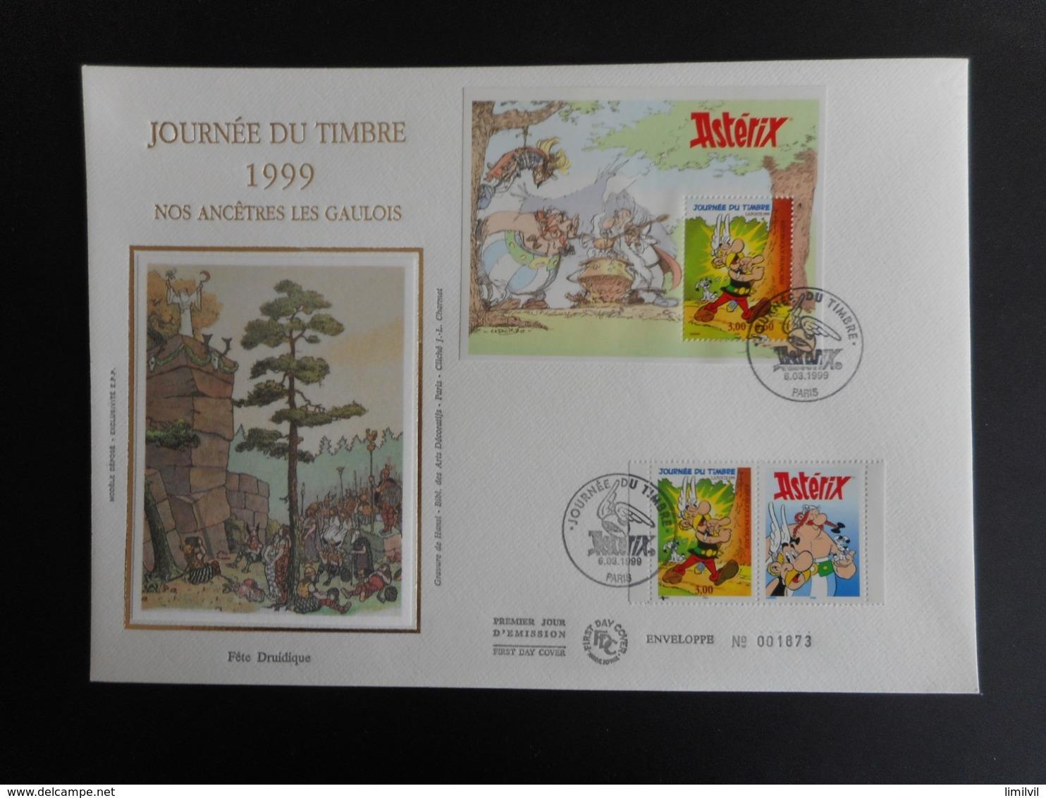 """FDC Grand Format - Bloc Journée Du Timbre 99 """"ASTERIX"""", Oblitération 6/3/1999 - FDC"""