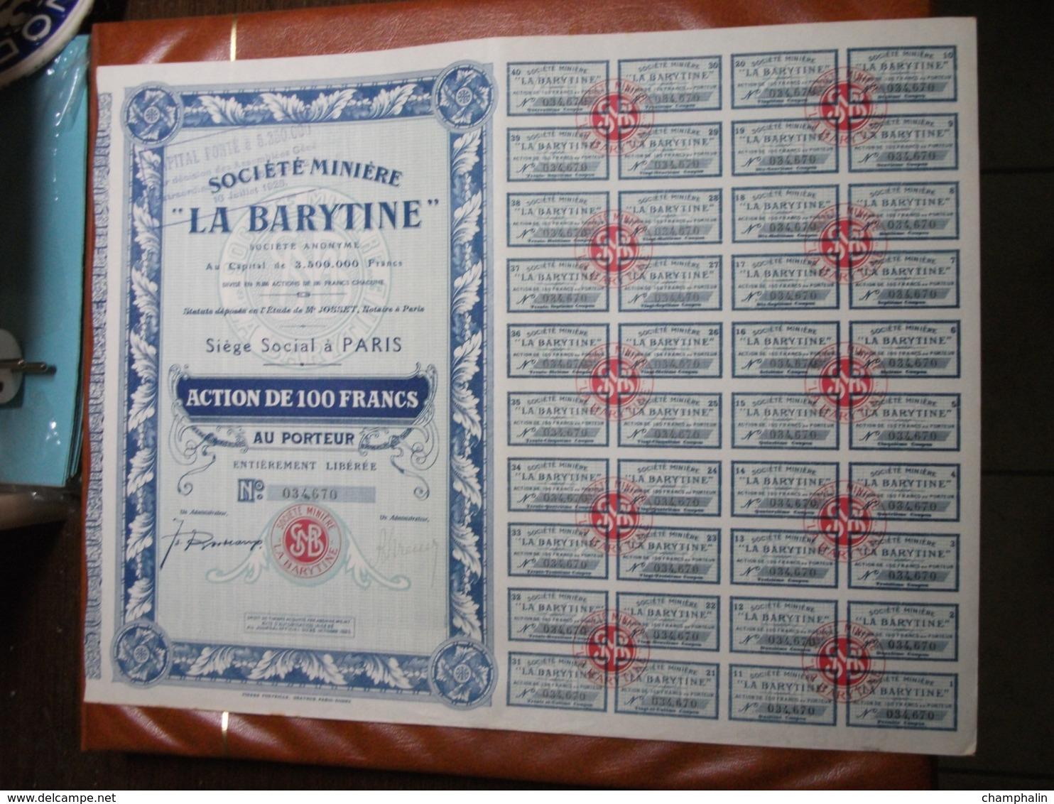 Actions - Société Minière La Barytine à Paris (75) - 25 Octobre 1925 - Action Au Porteur - Mines