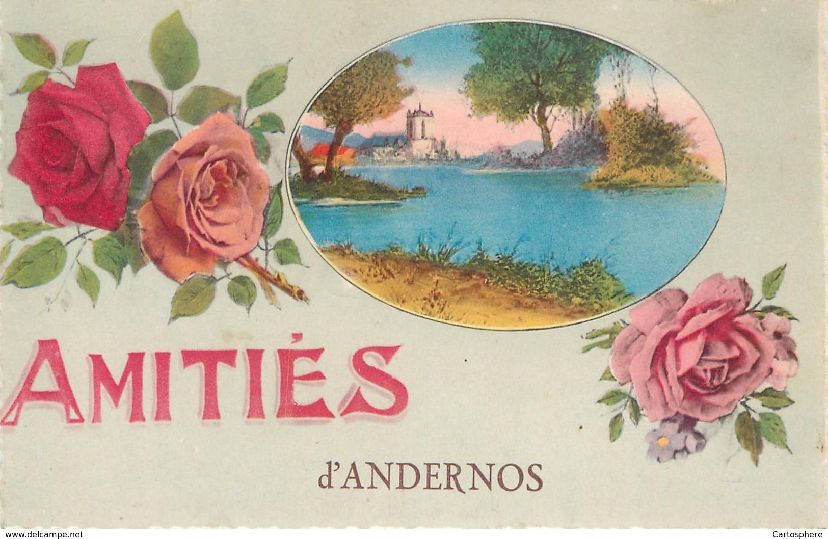 CPA 33 Gironde Amitiés D'Andernos, Souvenir, Fantaisie Rose Roses Fleurs - Andernos-les-Bains
