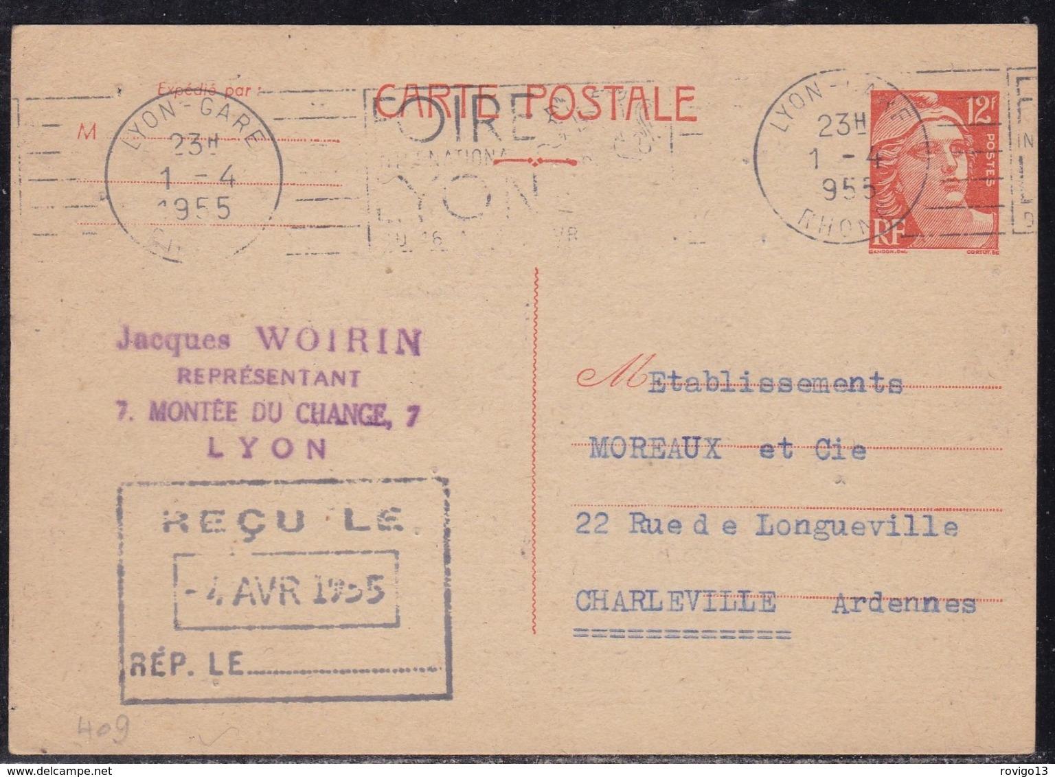 France, Rhone - Entier 885CP1, Càd Lyon Gare De 1955 - 1921-1960: Période Moderne