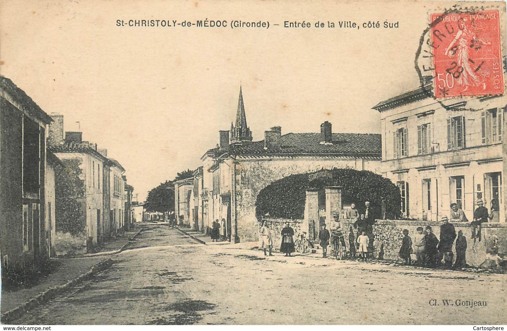 CPA 33 Gironde St Saint Christoly De Médoc Entrée De La Ville Côté Sud Cycliste Enfants - Francia