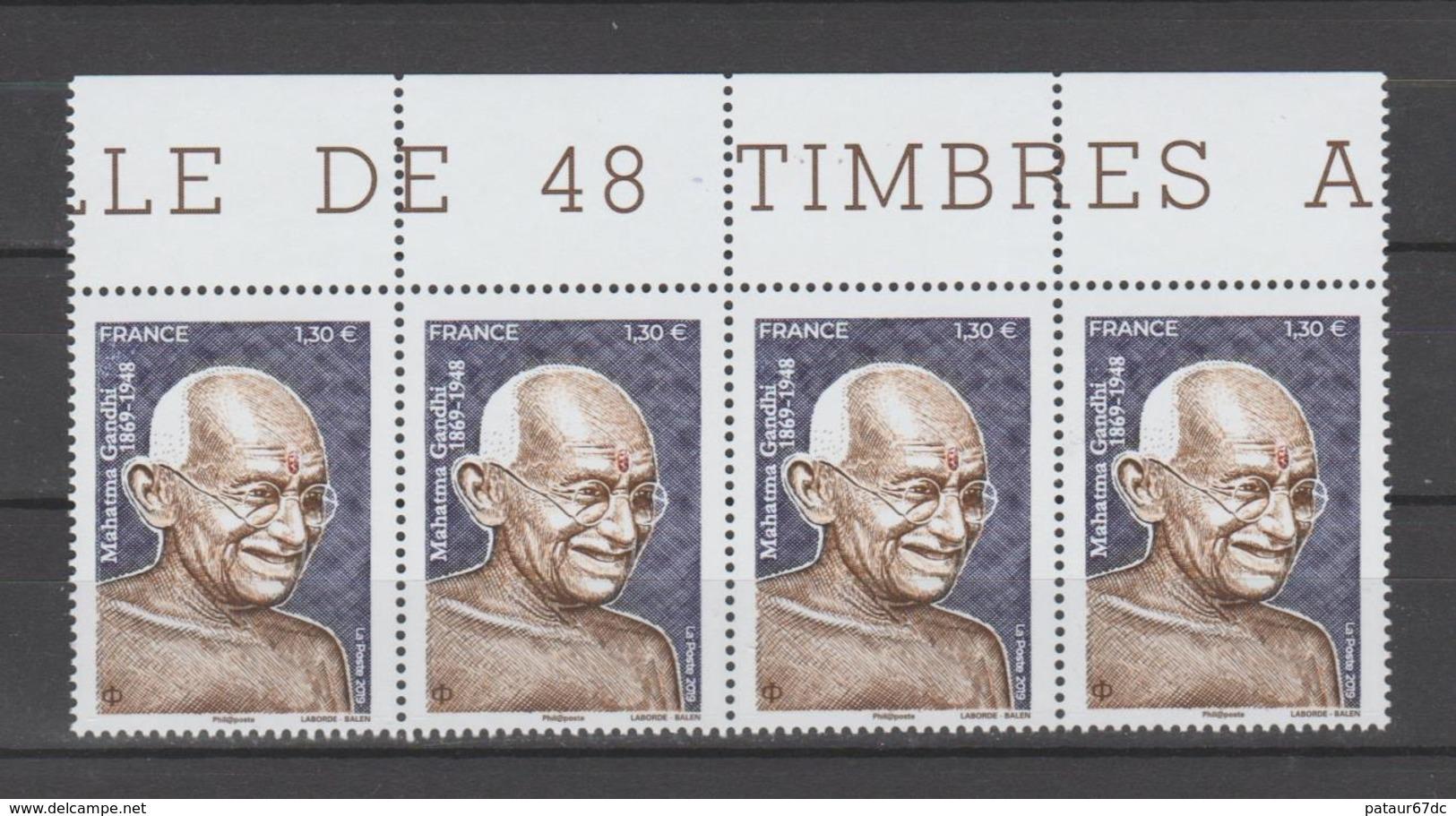 FRANCE / 2019 / Y&T N° 5346 ? ** : Mahatma Gandhi X 4 En Bande Tous BdF Haut - Gomme D'origine Intacte - Frankreich