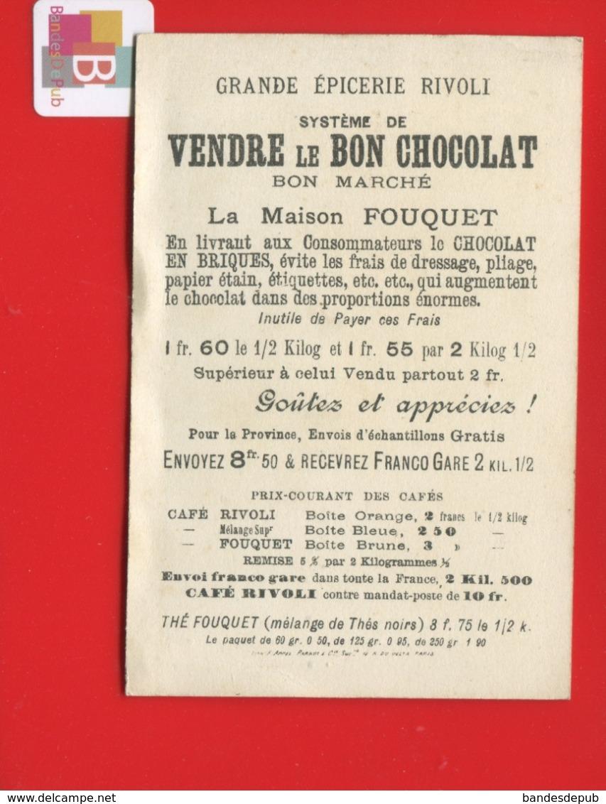 CAFE FOUQUET Rue Rivoli Paris  Chromo  Appel Exposition Universelle Pavillon Egyptien Egypte Chocolat Passage Saumon - Chromos