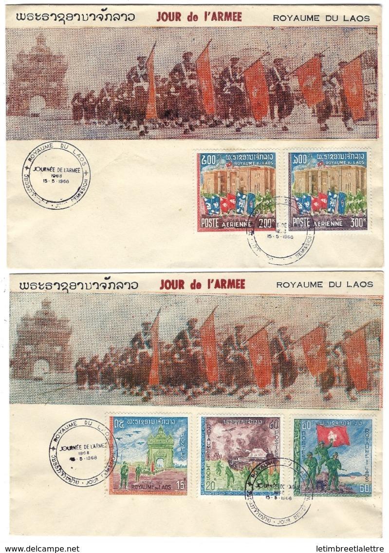 Royaume Du Laos, Journée De L'armée 1968, Sur Enveloppe, La Paire - Laos